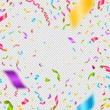 Multicolored confetti on a checkered background. Can be used over any image. Stock Images