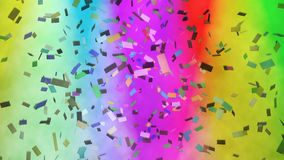 Multicolored confetti falling against stage lights stock footage