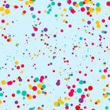 Multicolored Confetti or Round Shape Inkblots Randomly Scattered in Endless Infinite Pattern against Blue Backdrop. Multicolored Confetti Round Inkblots Randomly stock illustration