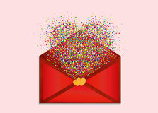 A multicolored confetti in the shape of a heart flies out Royalty Free Stock Photos