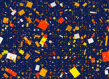 Multicolored Confetti Shapes in Chaotic Arrangement Stock Photography