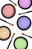 Multicolored cosmetics eyeshadows in the box Royalty Free Stock Images