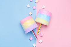 Multicolored Cotton candy. Pastel marshmallows. Minimal style. Pastel background. Blue and pink Royalty Free Stock Photo