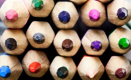 Multicolored crayon tips Stock Photography