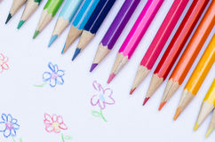 Multicolored crayons composition Stock Photo