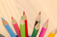 Multicolored crayons composition Stock Images