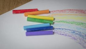 Multicolored crayons for drawing.isolated on a white background Stock Image