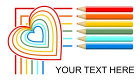 Multicolored crayons drawing lines and rainbow monoline heart, banner design on white background. Six pencils in red Royalty Free Stock Photography