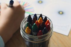 Multicolored Crayons Inside Clear Plastic Round Case Royalty Free Stock Image
