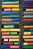 Multicolored crayons pastel close-up, vertical frame. Creation.  stock images