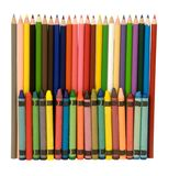 Multicolored crayons and pencils Stock Photos