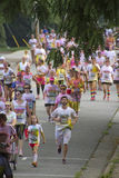 Multicolored Crowd of Color Run Racers Royalty Free Stock Photos