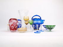 Multicolored Crystal Collection. Exquisite Multi Colored Decorative Crystal Collection of glasses, bowls, vases, saucers, & etc stock photography