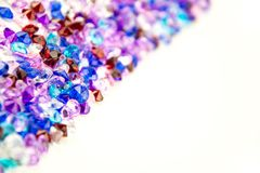 Multicolored crystals isolated on white background.  Gems Abstract Background. Diamond. Royalty Free Stock Image