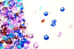 Multicolored crystals isolated on white background.  Gems Abstract Background. Diamond. Royalty Free Stock Photo