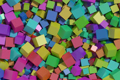 Multicolored cubes background. Abstract background made with a lot of multicolored cubes. wallpaper, 3d render, 3d illustration Stock Photography