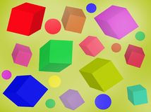 Multicolored cubes of different sizes. Stock Images