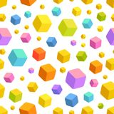 Multicolored cubes - pattern. Simple pattern, vector ai, white bg, 3d objects - cubes. Multicolored cubes are in the air in different angles of view. Toys Stock Photo