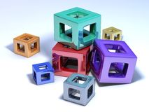 Multicolored cubes on a white floor. It's a conceptual picture, some multicolored cubes on a white floor royalty free stock images