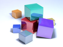 Multicolored cubes on a white floor. It's a conceptual picture, some multicolored cubes on a white floor stock illustration