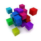 Multicolored cubic background. 3D rendering of a multicolored cubic background Royalty Free Stock Photography