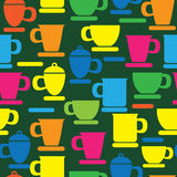 Multicolored cup and saucer icons seamless Royalty Free Stock Photography