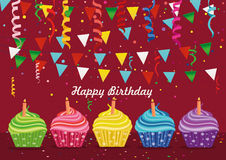 Multicolored cupcakes with candle. Happy Birthday. Garland with flags. And confetti. Greeting card or invitation. Vector. Free space for text or advertising Royalty Free Stock Image