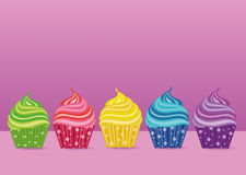 Multicolored cupcakes. Greeting card for the day. Vector. Free space. For text or advertising Royalty Free Stock Photos