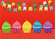 Multicolored cupcakes. Greeting card for the day. Vector. Free space. For text or advertising. Garland of paper flags Royalty Free Stock Photos