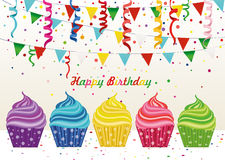 Multicolored cupcakes with letters and words with a birthday. Garland with flags and confetti. Greeting card or invitation. Vector. Free space for text or Stock Photos