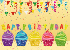 Multicolored cupcakes with letters and words with a birthday. Garland with flags and confetti. Greeting card or invitation. Vector. Free space for text or Royalty Free Stock Image