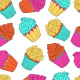 Multicolored cupcakes seamless pattern isolated on transparent background royalty free illustration