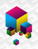 Multicolored cute cubes background. Multicolored cubes set over clear grey background. Vector available Royalty Free Stock Photography