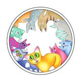 Multicolored cats arranged in a circle stock illustration