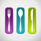 Multicolored cutlery icons set background Royalty Free Stock Image