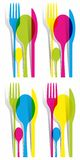 Multicolored Cutlery Icons Set Stock Photography