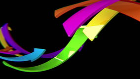 Multicolored 3D arrows move on black background, CG animation, seamless loop stock footage