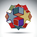 Multicolored 3d geometric figure constructed from cubes, rectang Stock Images