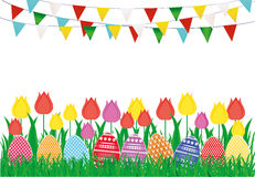Multicolored decorated Easter eggs on the green grass with flowers. Tulip and a garland of flags. Bunting. Greeting card or invitation for a holiday. Vector Stock Image