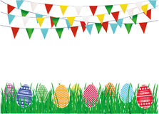 Multicolored decorated Easter eggs on the green grass and a garland. Of flags. Bunting. Greeting card or invitation for a holiday. Vector. Empty space for text Stock Photos