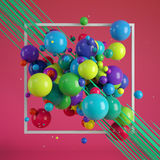 Multicolored decorative balls. Abstract illustration. 3D rendering Stock Photography