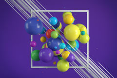 Multicolored decorative balls. Abstract illustration. 3D rendering Royalty Free Stock Photography