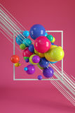 Multicolored decorative balls. Abstract illustration. 3D rendering Royalty Free Stock Photos