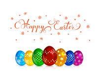 Multicolored decorative Easter eggs on white background Royalty Free Stock Photos