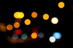 Multicolored defocused bokeh lights at Night for  background or Royalty Free Stock Images