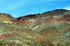 Multicolored Desert Hills Against Blue Skies. Rolling hills of Titus Canyon, part of Death Valley, California`s colorful desert landscape Royalty Free Stock Photography