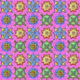 Multicolored details on a pink background. Hand-drawn seamless pattern vector illustration
