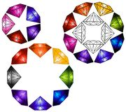 Multicolored Diamond Gems. Different star shapes created from multicolored diamond designs stock illustration