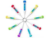 Multicolored Digital clinical thermometers Royalty Free Stock Images