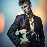 Multicolored digital painted image portrait of elegant young handsome man. Royalty Free Stock Photography